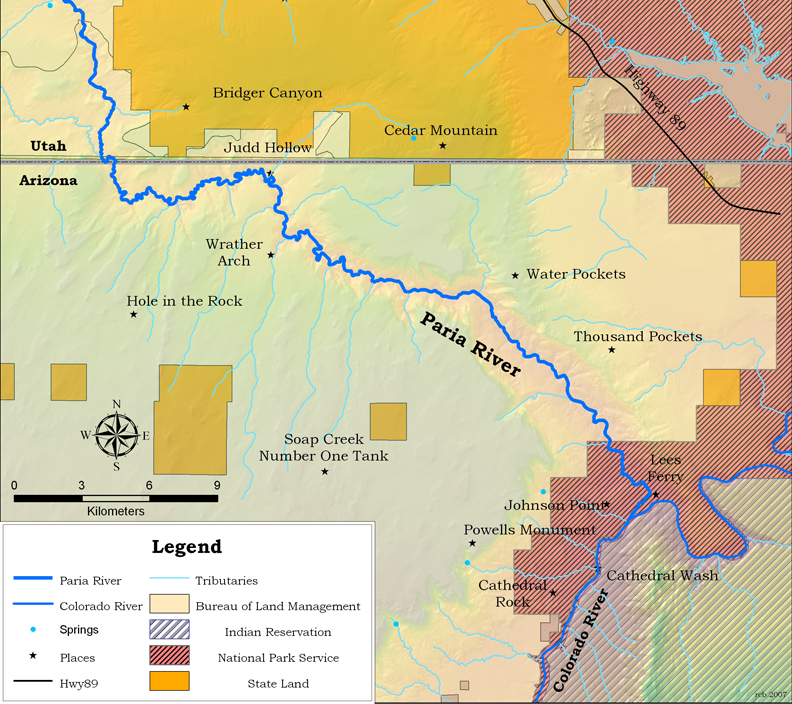 Map Of Colorado River In Arizona.Arizona Heritage Waters Paria River